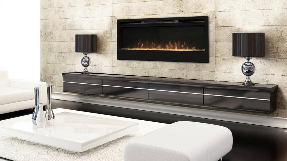 Chimenea Dimplex en salón con muebles
