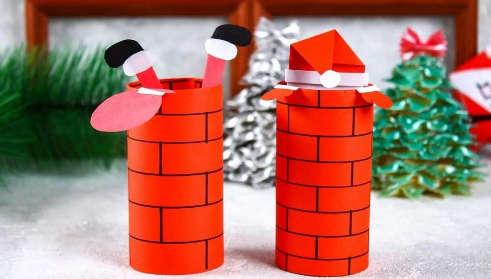 Decoración para chimenea de cartón