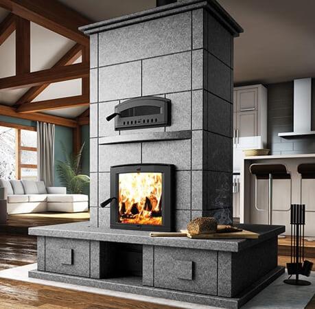 chimenea con horno de estilo moderno