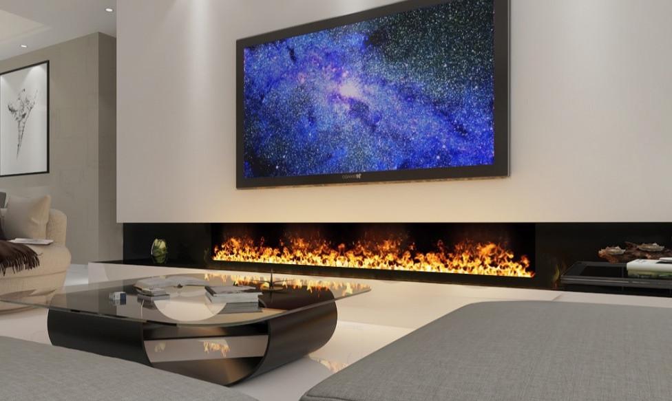 chimenea con vapor bajo televisor
