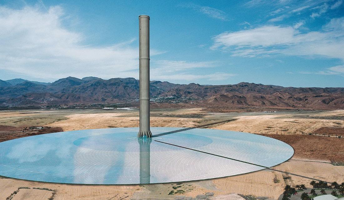 Chimenea solar en desierto